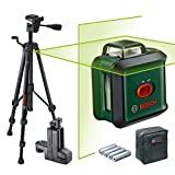 Bosch UniversalLevel 360 Set Laser Level (Green Laser, Range: up to 24 m, Accuracy: ± 0.4 mm, Self-Leveling: up to ± 4 °, 4x AA Batteries, in Cardboard Box)
