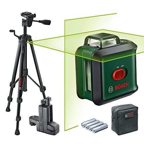 Bosch Kreuzlinienlaser UniversalLevel 360 Premium Set (Horizontale 360°-Laserlinie + vertikale Laserlinie, grüner Laser, 4x AA-Batterien, mit Stativ und Klemme, im Karton)