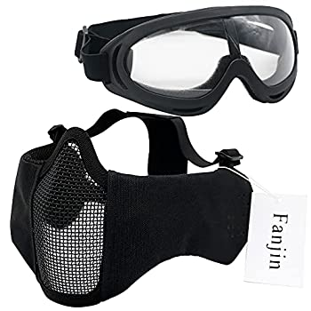 Fanjin Airsoft Mask and Goggles Foldable Half Face Mesh Masks Nylon Military Tactical Half Masks with Ear Protection for CS Paintball Shooting Or Other Outdoor Activities Set for Adult Men Women