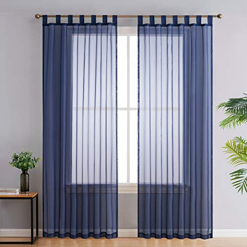 HLC.ME Navy Blue Tab Top 54 inch x 84 inch Long Window Curtain Sheer Voile Panels for Living Room & Bedroom, Set of 2