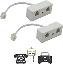 Two Way Telephone Splitters,Uvital Male to 2 Female Converter Cable RJ11 6P4C Telephone Wall Adaptor and Separator for Landline(White,2 Pack)