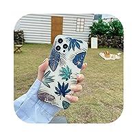 ヴィンテージバナナの葉電話ケース For iphone 11 プロ 12 プロマックス 7 8 プラス XS Max X XR SE 2020 12 ミニクリアゴールド塗装裏表紙-DX-58-For iphone 8 Plus
