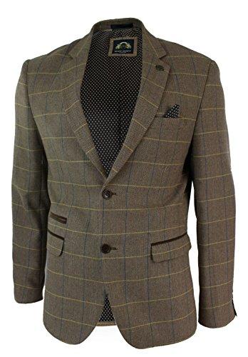Marc Darcy Herrensakko Braun Vintage Fischgräte Tweed Design Eng Tailliert Lässig