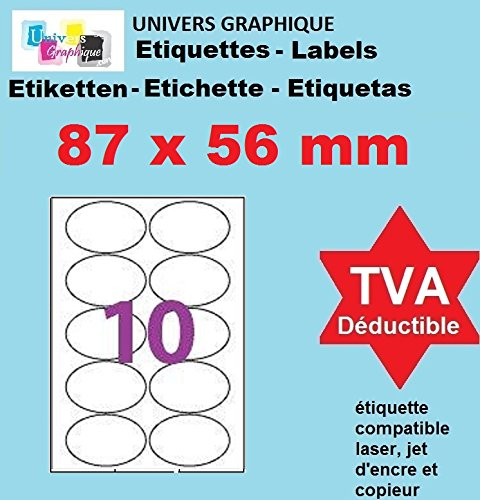 avis imprimante laser et jet d'encre professionnel 87 x 56 mm = 1000 étiquettes chacune – Blanc mat – 100 feuilles avec 10 étiquettes ovales pour l'imprimante…