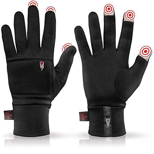 THE HEAT COMPANY – Polartec Liner - Warme Touchscreen Handschuhe für Damen & Herren - Qualität aus den Alpen - Winterhandschuhe schwarz - Fahrradhandschuhe & Laufhandschuhe - Größe 6