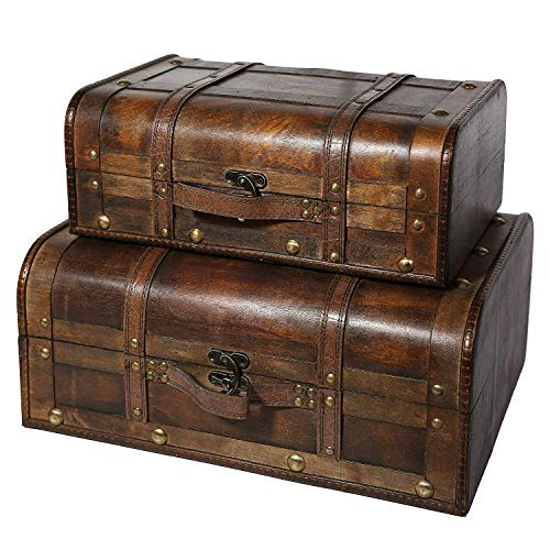 Soul & Lane Bentley Decorative Wooden Trunk Suitcases (Set of 2) | Small Wood Storage Chest Luggage