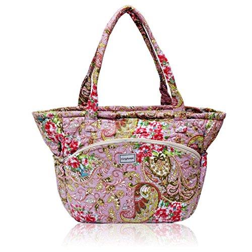Ringarose, borsa a tracolla trapuntata con motivo floreale, 100% cotone, lavabile in lavatrice, con cerniera, multi tasca, graziosa borsa a tracolla – rosa cachemire