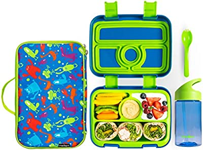 Meillen Kids Bento Lunch Box, Insulated Cooler Bag & Water Bottle, Leak-Proof 4-Compartment Snack Box, Reusable Soft Tote, Toddlers Lunch Containers for Girls or Boys, Ages 2 to 7 (Blue)