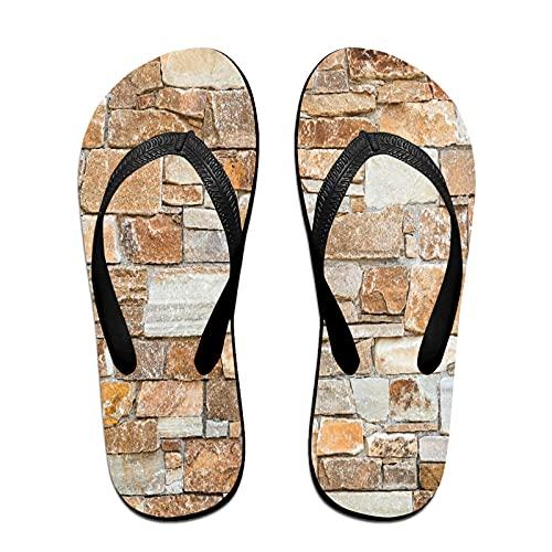 Sandales unisexes minces à bascule,Mur de pierre de pierres naturelles de, Tapis de yoga Flip Flops plage confortable bracelet en cuir avec légère en EVA Sole Taille S