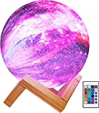 Elstey Moon Lamp 3D Star Galaxy Light, 16 Colors/5.9 Inch/Remote & Touch Control/Rechargeable Kids Night Light with Wood Stand, Bedroom Desk Decor, Christmas Birthday Gift for Baby Girls Boys
