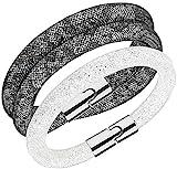 SWAROVSKI Crystal Stardust Set of 2 Grey Double and Single White Bracelets #5184500