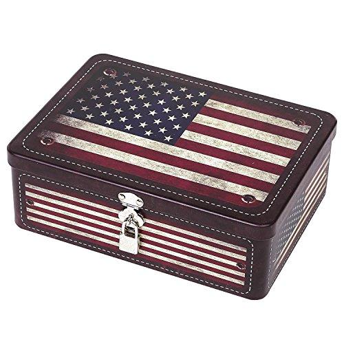 MyGift Retro Style American Flag Tin Storage Box with Padlock, Decorative Metal Organizer Case