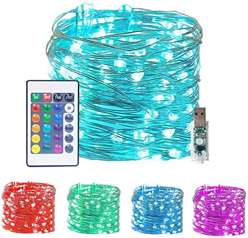 LiyuanQ 100 LED Fairy String Lights USB Plug-in Outdoor Twinkle Starry Lights with Remote Timer 16 Color Changing Twinkle Lights 33 Ft 4 Modes Decor Mini Wire Lights Bedroom Party Xmas Home