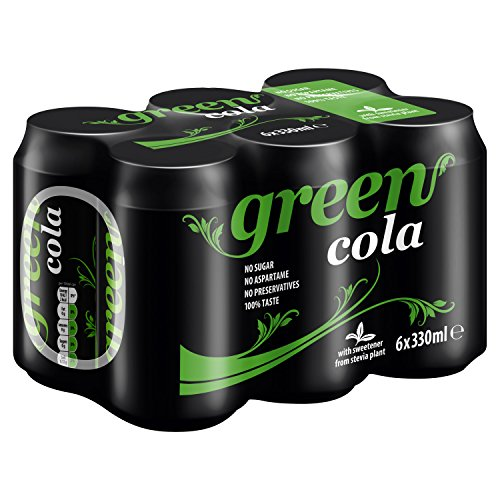 Green Cola Cans 24 Pack, No Sugar Soft Drink, 0 Calories, No Aspartame, Natural Caffeine, 100% Taste - 4 x 6 Pack of 330 ml (24 Cans Total)