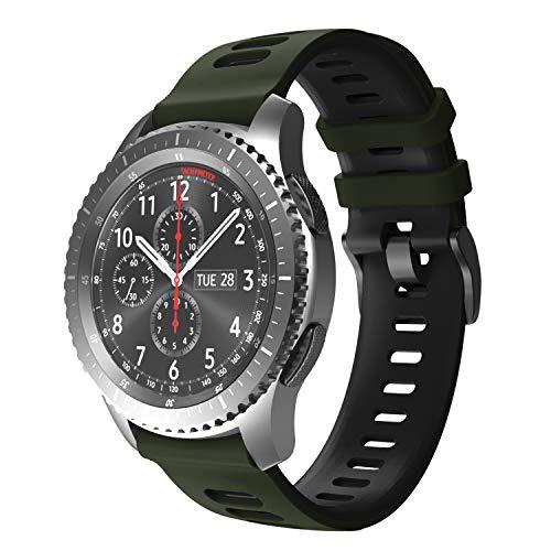 NotoCity Cinturino per Samsung Galaxy Watch 46mm / Gear S3 Frontier/Gear S3 Classic/Huawei Watch GT 2 / Huawei Watch GT/Sport/Active/Classic, 22mm Cinturini di Ricambio(Verde dell'Esercito - Nero)
