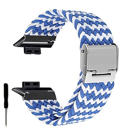 Correa de Reloj para Watch FIT Correa elástica Trenzada Ajustable Correa de muñeca Correa de liberación rápida (Band Color : Blue White Waves, Band Width : Hua Fit)