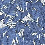 Tempaper TR10654 Blue Raspberry Tropical   Designer Removable Peel and Stick Wallpaper, 28 sq. ft