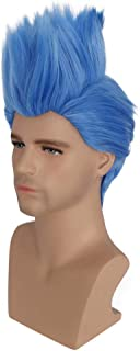 BERON Short Straight Blue Helloween Costume Men Wig Anime Cosplay Party Wig (Adult)