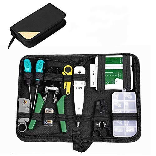 ERWEY 12 in 1 Netzwerk Reparaturwerkzeuge Professionell Netzwerk Werkzeug Set Netzwerktester, LSA Werkzeug, Netzwerk Kabeltester Kit