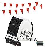 Piñatas de Cumpleaños Infantiles Partituki. 20 Mochilas de Colorear, 20 Sets de 5 Ceras de Colores y una Guirnalda de 10 m. Ideal para Detalles Cumpleaños Infantiles y Regalos Cumpleaños Niños Colegio