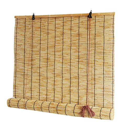 LLXNQ026 Reed Roll Up Shades Roman Blinds Louver Window, Living Room Tea Room Vintage Decoration Bamboo Roller Blind,Sun Shades For Outdoor/Indoor,Breathable,With Lifter(60cm×150cm/23.6in×59in)