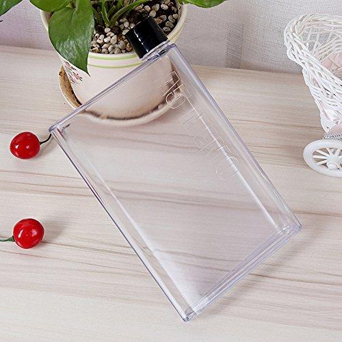 Ducomi A6 Bottle – Petaca transparente de diseño innovador y ultra plano con contenido visible – Botella portátil de PVC alimentario, transparente, 350 ml (negro)