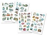 Camping Sticker Set - Aufkleber, Journal Sticker, Ausflug, Reisen, Wandern, Zelten, Auto, Tiere, Natur, Wald, Bäume, Berge, Urlaub