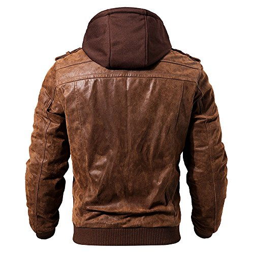FLAVOR Men Brown Leather Motorcycle Jacket with Removable Hood (X-Large (US Standard), Brown)