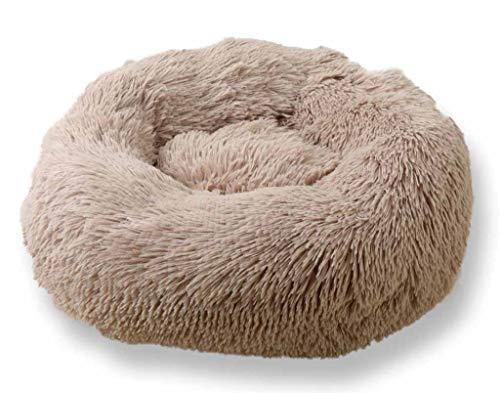 Furpazven Haustierbett für Katzenbett Hundebett Luxery Soft Dog Bed Cuddler mit weichem Kissen Round Nesting Cave Khaki Durchmesser 80cm