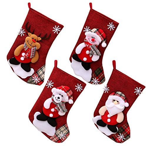 Gobesty Nikolaussocken, 4er Set Weihnachsstrumpf Nikolausstiefel Nikolausstrumpf zum Befüllen & Aufhängen Hängende Strümpfe Schneemann Weihnachtsmütze für Weihnachtsschmuck Weihnachtsdeko, 26 cm