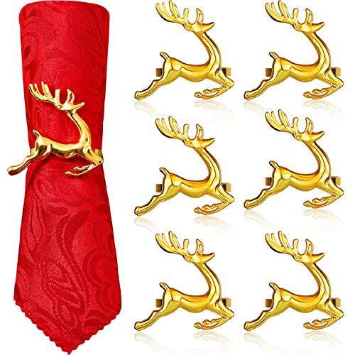 WILLBOND Serviettenringe mit Hirsch-Motiv, Weihnachts-Serviettenringhalter, Rentier, Serviettenschnalle für Urlaub, Abendessen, Partys, Hochzeitsschmuck, Tischdekoration, Zubehör (Gold, 6 Stück)
