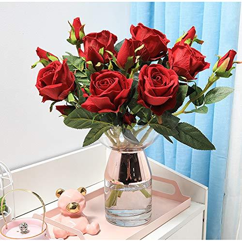 Hawesome 6 Künstliche Rosen Kunstblumen Kunstrosen Flanell rot weiß Rose Dekoration Hochzeit Blumenstrauß Raum Ausgestaltung Blumenarrangement Garten Party Büro Blumenschmuck 18 Rosenköpfe - 6