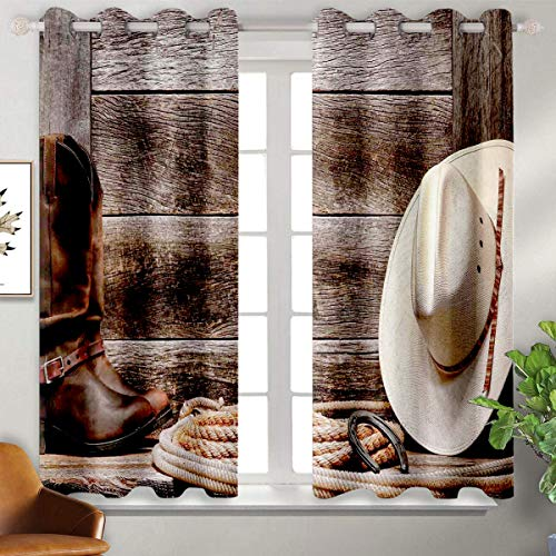 June Gissing Western Decor Kitchen Curtain American West Rodeo White Straw Cowboy Hat with Lariat Leather Boots on Rustic Barn Wood Thermal Insulated Blackout Patio Door Curtain Panel W63 x L72