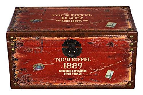 Harvest Truhe Kiste SJ14306 Städtereise, Eiffel, Holztruhe mit Leder bezogen Schatzkiste