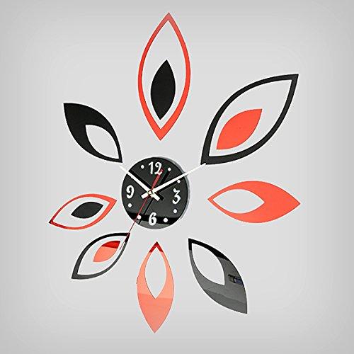 Bluelover Fashion Flower Stickers Muurtattoo Klok DIY Home Decoratie Spiegel