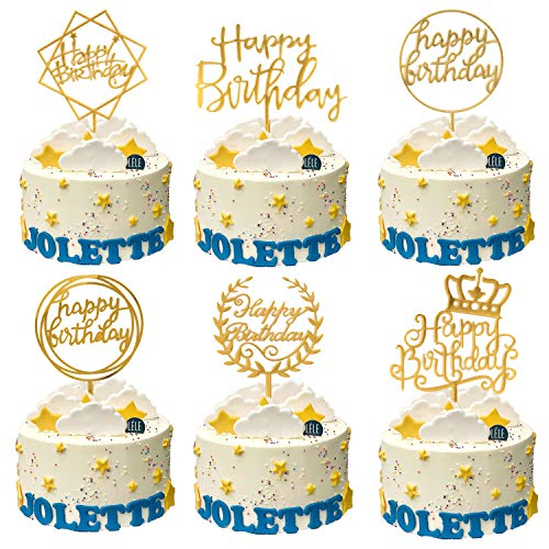 DERAYEE 6 Pack Happy Birthday Cake Topper, Gold Acrylic Cupcake Toppers for Various Birthday Party Decorations