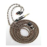Senlee 8 Core Earphone Upgrade Cable Single Crystal Copper Sliver Foil Mixed Braided 2Pin Detachable Cable for 3.5MM Plug for C10 C16 KZ ZST ES4 AS06 ZS7 Earphones (3.5MM Plug, 2Pin)