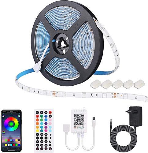 ALED LIGHT Tira de LED 5m Bluetooth 5050 impermeable 150D RGB SMD Tira de LED con control remoto por infrarrojos 44 teclas y fuente de alimentación de 12V Tira de luz para TV Decoración del hogar Navidad