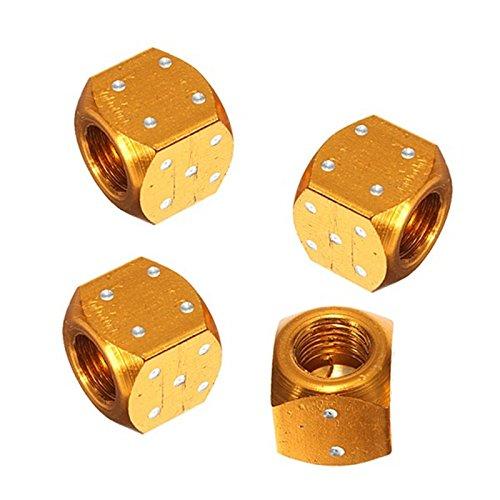 Quata 4 tapas de metal para válvula de neumáticos, para bicicleta, coche, motocicleta, ATV, color dorado
