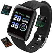 "Smart Watch, Fitness Tracker 1.3"" Big Color Screen Smartwatch Bluetooth IP68 Waterproof Fitness Trackers ,Watch with Heart Rate/Sleep Monitor GPS Calorie Counter Pedometer Stopwatch for Kids Men Women"