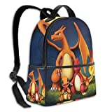 Charman-der Char-meleon and Ch-arizard Pokém-on Se-ri Multifunctional Backpack Women's and Men's School Bags ,Travel Hiking with Kettle Pocket Backpack
