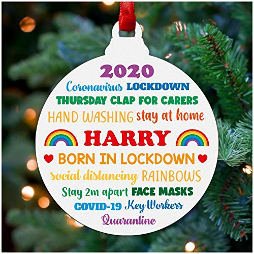 Born In Lockdown Christmas Decoration - Personalised Babys 1st First Christmas 2020 Ornament Boy Girl Son Daughter - Baby Lockdown Gifts - Baby Lockdown 2020 Keepsake - Rainbow Christmas Bauble