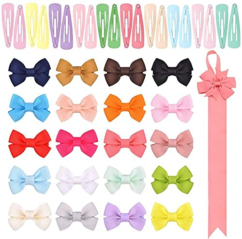 Jsmhh 41 PCS Pins DE Pelo, 20 Colores Cinta Bows Bows Clips Bow y 20 PCS Color de Candy BB Barrettes Mini Horquilla Accesorios para el Cabello para niñas pequeñas