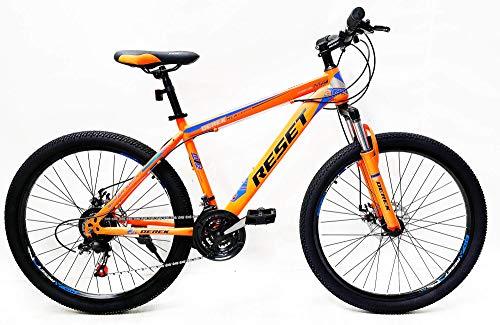 Reset Bicicletta Mountain Bike MTB Ragazzo 27.5' 21V Front Suspension Arancio Fluo e Blu