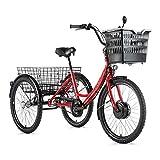 Motodak - Triciclo eléctrico VAE City Leader Fox 24' lovelo Mixto Motor Delantero bafang 36 V 250 W 45 NM Aluminio Rojo Blanco 3 V Shimano Nexus
