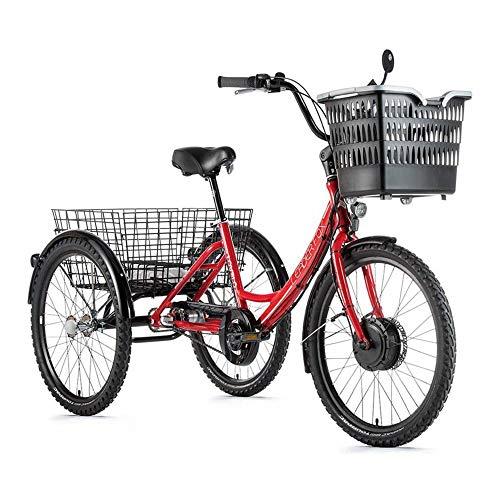 Motodak Tricycle Electrique-VAE City Leader Fox 24″ lovelo Mixte Moteur Avant bafang 36v 250w 45nm alu Rouge-Blanc 3v Shimano Nexus