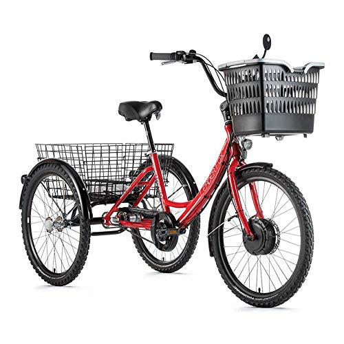 Motodak Tricycle Electrique-VAE City Leader Fox 24″ lovelo Mixte Moteur Avant bafang 36v 250w 45nm alu Rouge-Blanc 3v Shimano Nexus