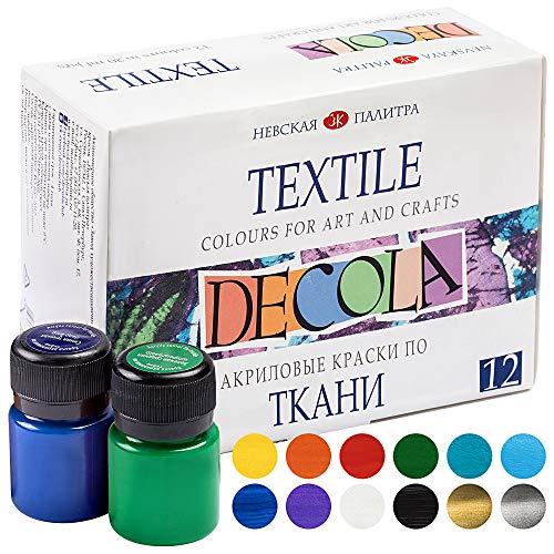 Pintura textil acrílica de alta calidad–a elegir:6 o 12 colores cada 20 ml - colores de tela lavables - Nevskaya Palitra (juego de 6)