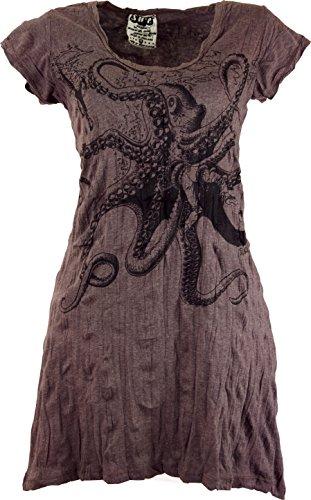 Guru-Shop Sure Long Shirt, Minikleid Krake, Damen, Taupe, Baumwolle, Size:M (38), Bedrucktes Shirt Alternative Bekleidung