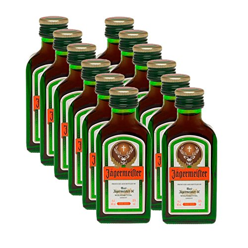 12 x Jägermeister - Licor, Botella 4 cl (35% Vol)